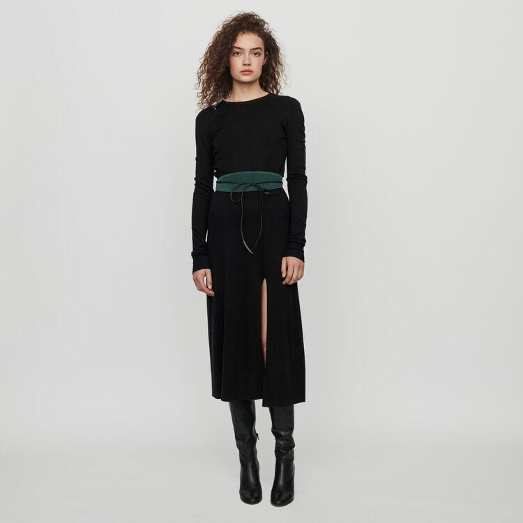 마쥬 MAJE 119ROLLAND Split and reversible knit dress,Black