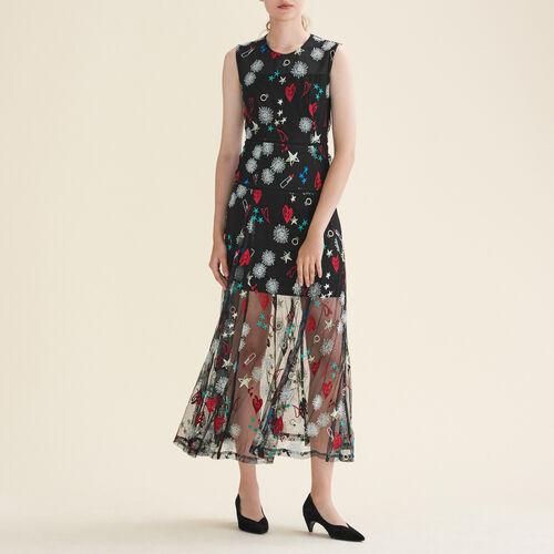 Long dress with all-over embroidery - Evening Capsule - MAJE
