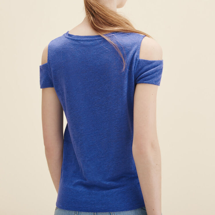 Linen off-the-shoulder T-shirt - Tops & Shirts - MAJE