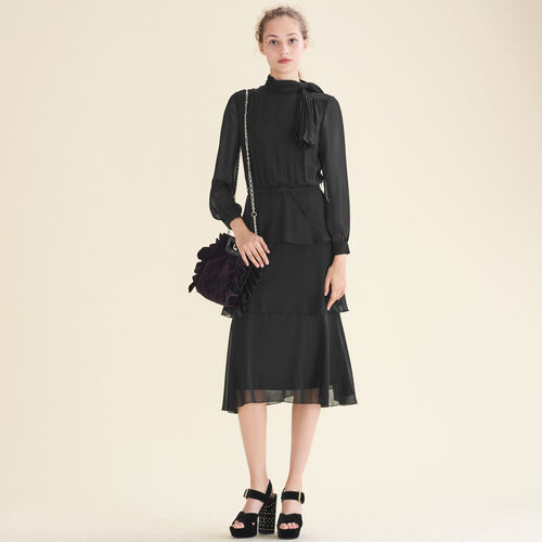Flowing frilled dress - Evening Capsule - MAJE