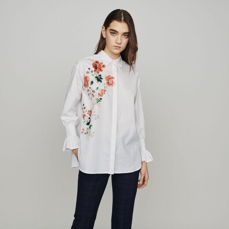 마쥬 CRAVI 꽃 무늬 셔츠 화이트 MAJE Floral print shirt,WHITE