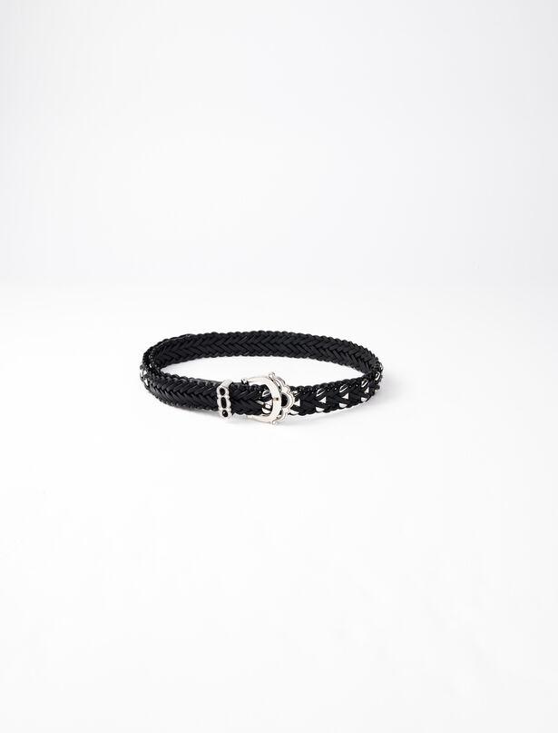 마쥬 벨트 MAJE 220AYA Braided leather belt with studs,Black