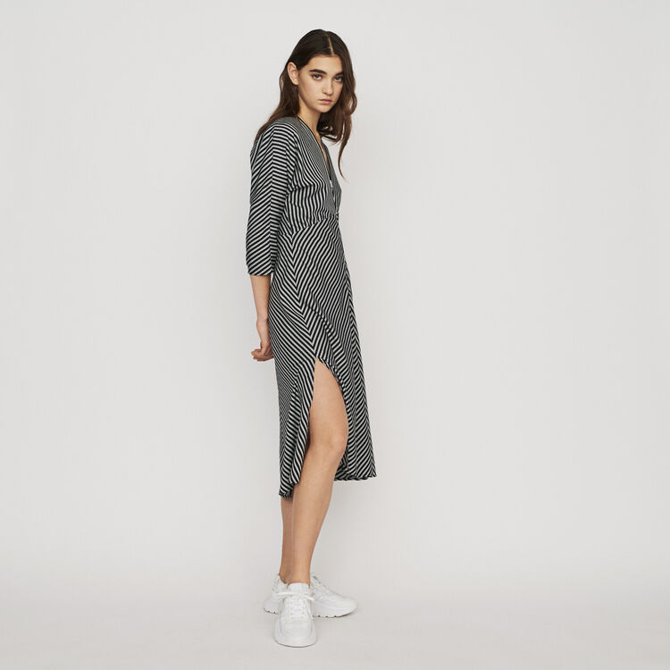 마쥬 RAVA 스트라이프 미디 원피스 MAJE Zipped midi dress with stripes,Stripe