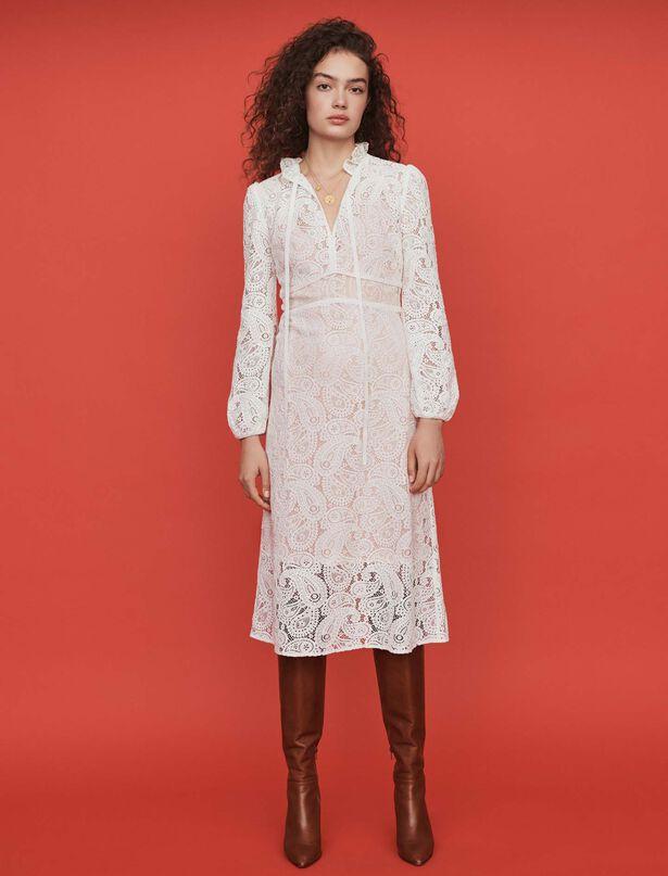 마쥬 레이스 원피스 MAJE 119RILIE Guipure lace midi dress,Ecru