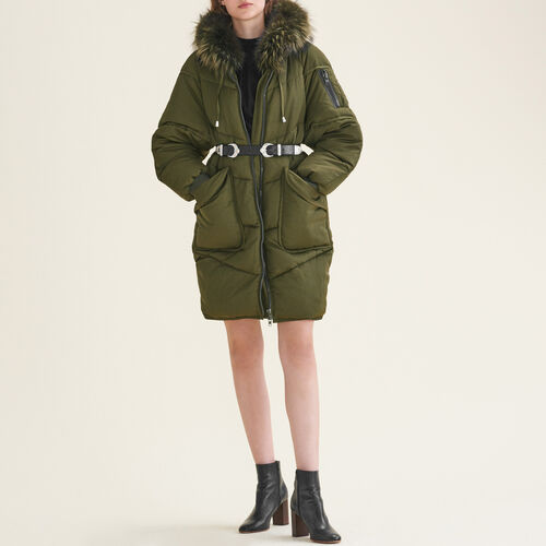 Long down jacket with fur - Coats & Jackets - MAJE