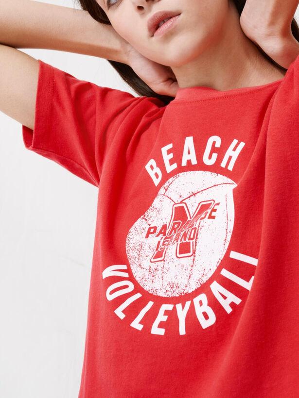마쥬 스포츠 티셔츠 MAJE 220TANGO Short red screen-printed T-shirt,Red