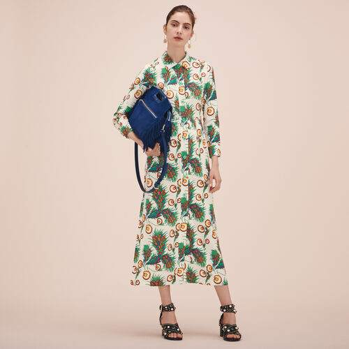 Long printed shirt dress - Dresses - MAJE