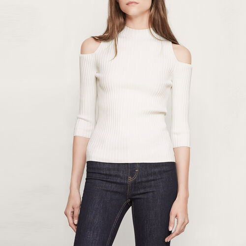 Close-fitting off the shoulder top - Sweaters - MAJE