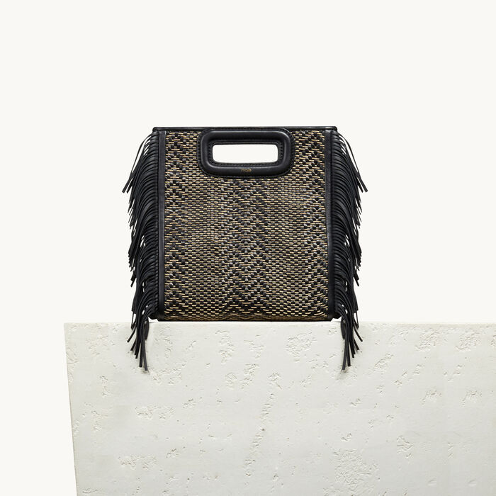 Leather M bag with braiding -  - MAJE