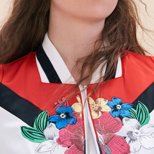 Embroidered satin varsity jacket - Coats & Jackets - MAJE