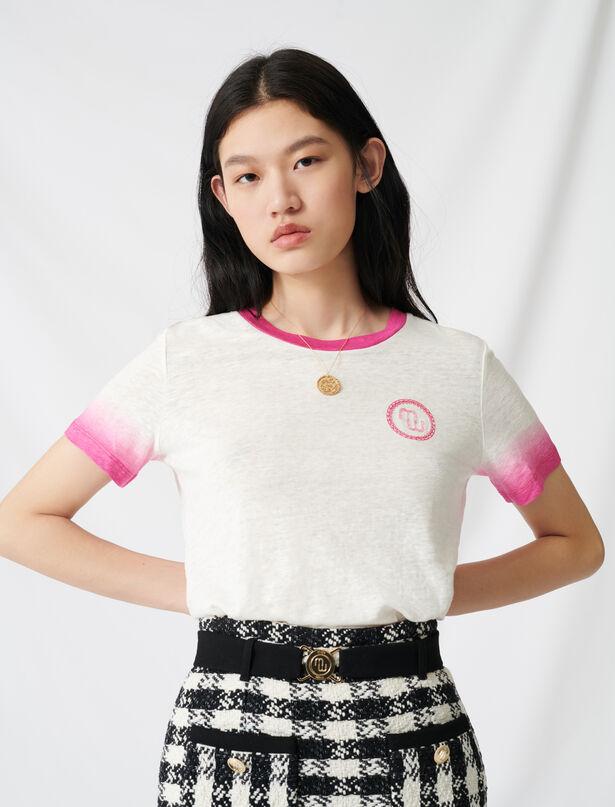 마쥬 티셔츠 MAJE 220TOBY Monogram T-shirt with tie-dye finishes,Ecru
