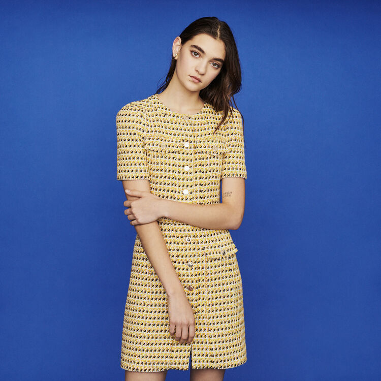 19 SS 마쥬 RILL 트위드 미니 원피스 옐로우 (유인나, 강소라 착용) MAJE RILL Short dress in tweed and lurex,Yellow