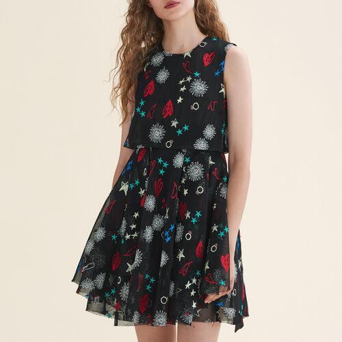 Tulle sleeveless embroidered dress - Evening Capsule - MAJE