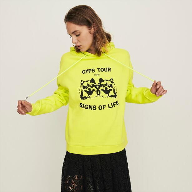 마쥬 강아지 레터링 자수 후드티  - 옐로우 MAJE 119TOUSSIN Embroidered hooded sweatshirt, Yellow, MFPSW000