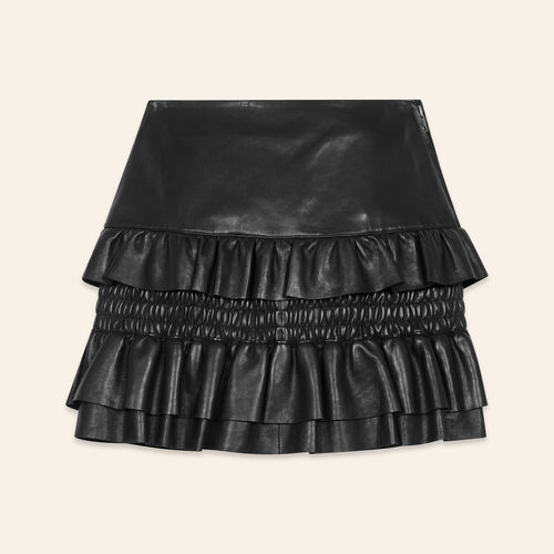 Flounced leather skirt - Skirts & Shorts - MAJE