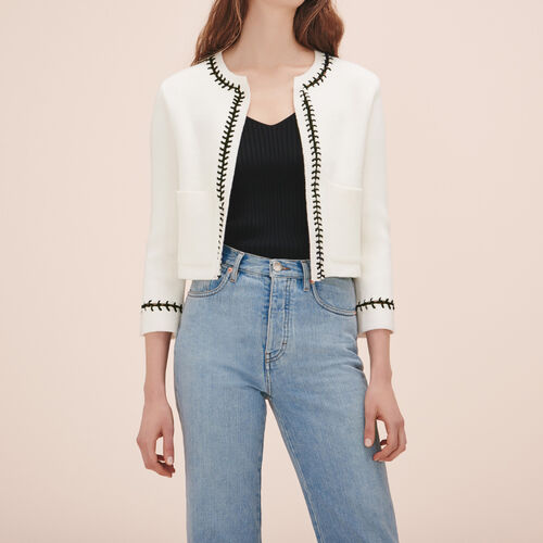 Cardigan with openwork detail - Sweaters - MAJE