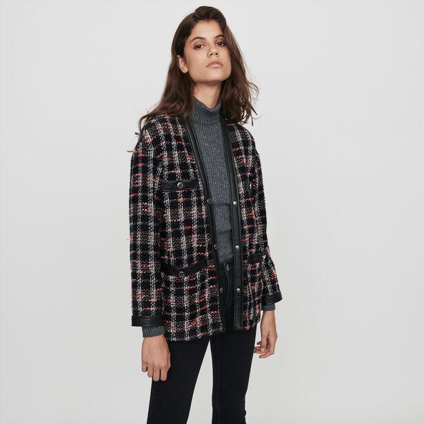 마쥬 오버핏 체크 트위드 자켓 MAJE 119VISIDO Tweed-syle contrast jacket,Black