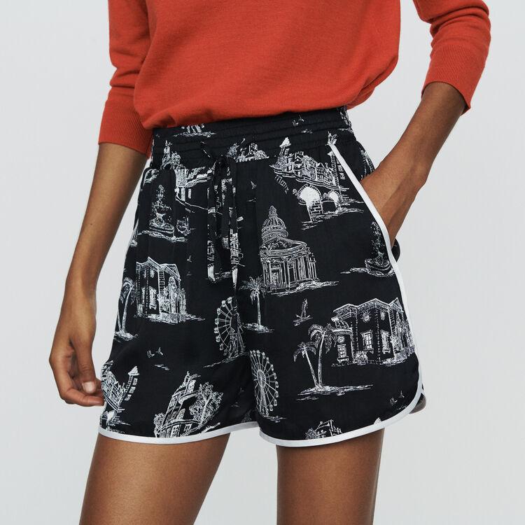 마쥬 MAJE ISCENE Shorts with Paris print,BLACK