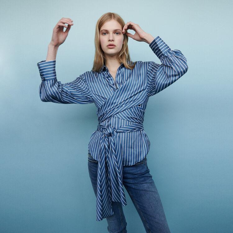 마쥬 COSA 스트라이프 랩 블라우스 MAJE COSA Wrap blouse with stripes,Stripe