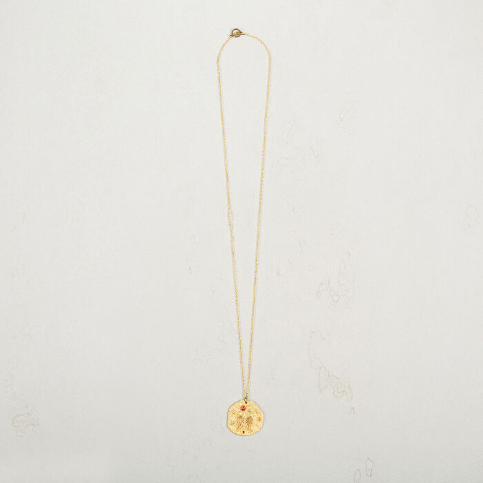 Necklace with hammered medallion - Shoes & Accessories - MAJE