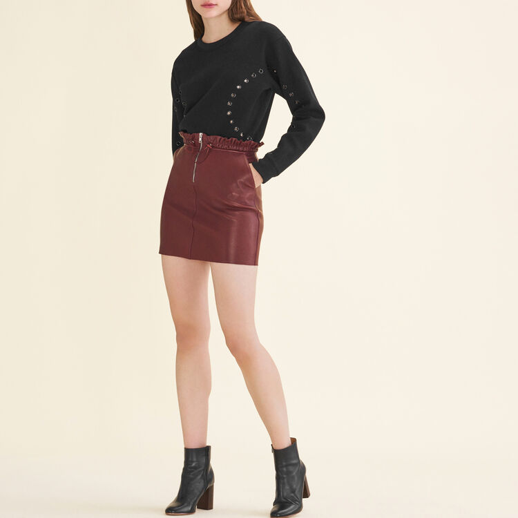 마쥬 MAJE 7JET Zipped leather skirt,Burgundy
