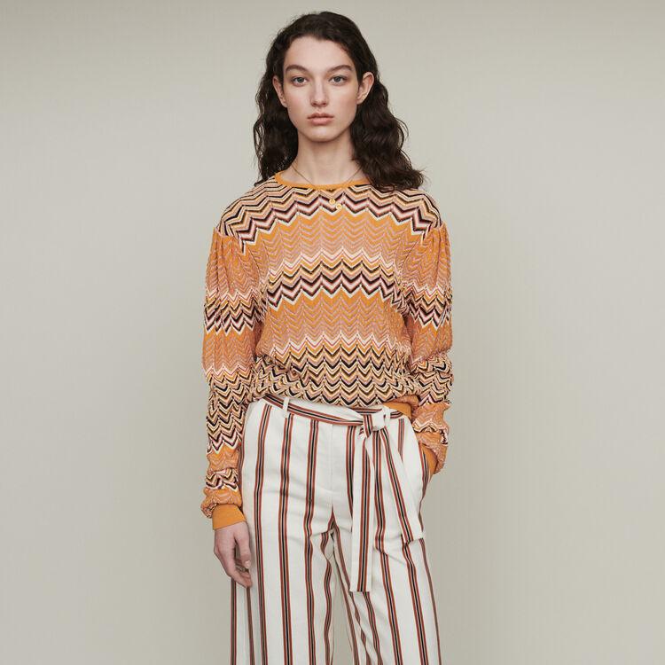 마쥬 지그재그 니트 스웨터 - 오렌지 MAJE MACHA Sweater in zigzag knit,Orange