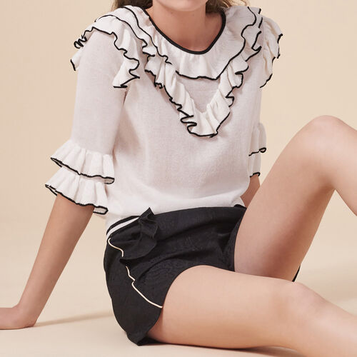 Frilled fine knit top - Sweaters - MAJE