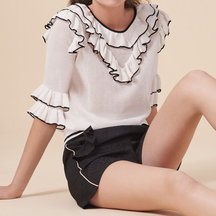 Frilled fine knit top -  - MAJE