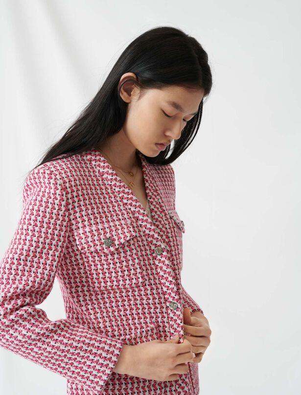 마쥬 MAJE 220VYZA Tweed-style fitted jacket,Fuchsia