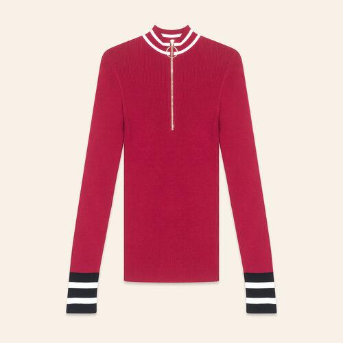 Fine knit zipped jumper - Sweaters - MAJE