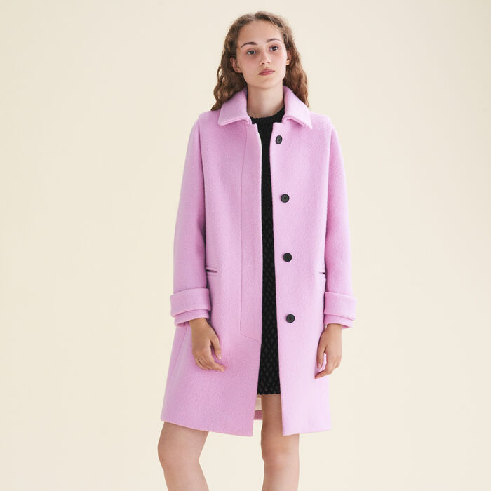 Abrigo recto de lana virgen -  - MAJE