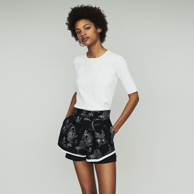 마쥬 MAJE IPOM Embroidered crepe shorts,Black 210