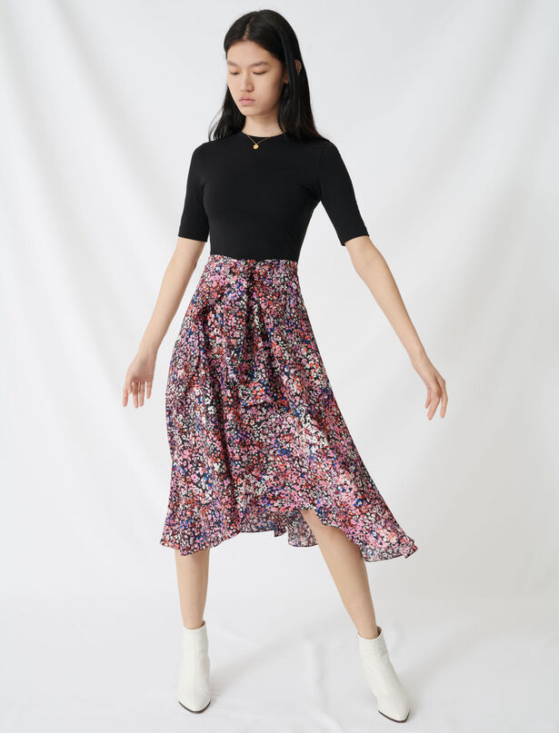 마쥬 투인원 원피스 (반팔 상의 + 플로럴 스커트) MAJE 220RINTO Printed trompe l'OEil dress,Black/Pink