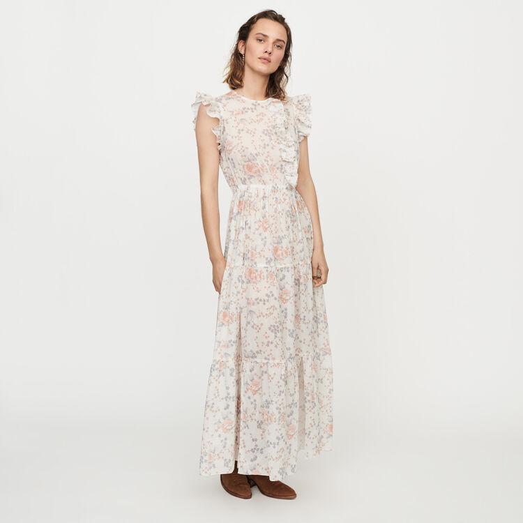 마쥬 MAJE ROSEE Long floral-print ruffled dress,Pink