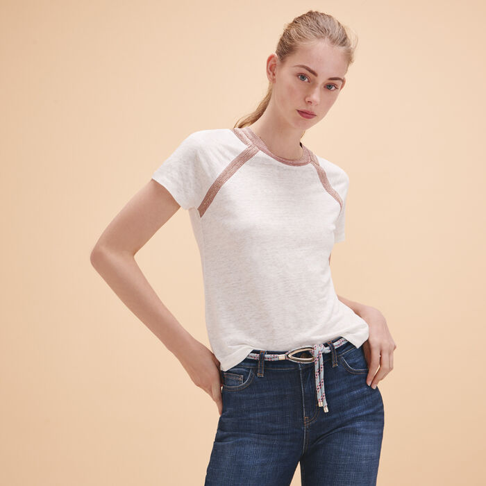 Linen T-shirt with lurex detailing - Tops & Shirts - MAJE