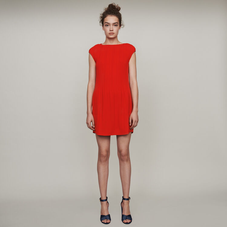 마쥬 MAJE 119ROCKA Sleeveless pleated dress,Red