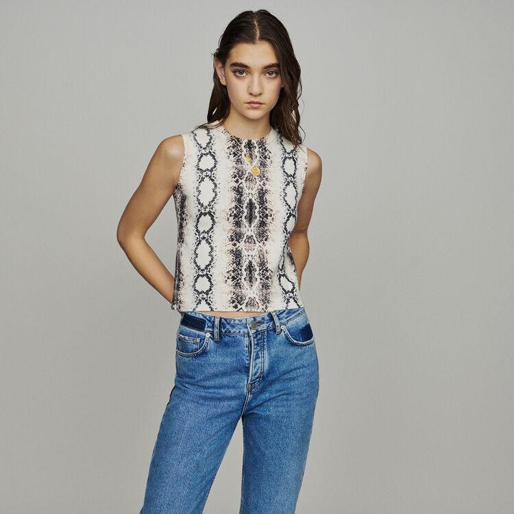마쥬 METEOR 민소매 스웨터 (지수 착용) MAJE METEOR Sleeveless sweater in python print,Printed