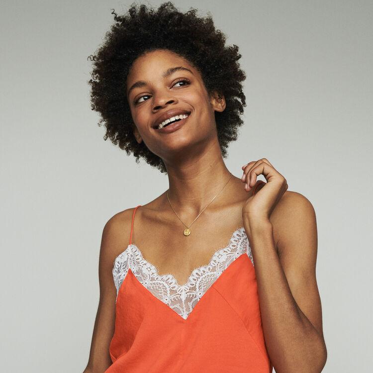 마쥬 레이스 슬립탑 - 오렌지 MAJE LINETTE Lace camisole,Orange