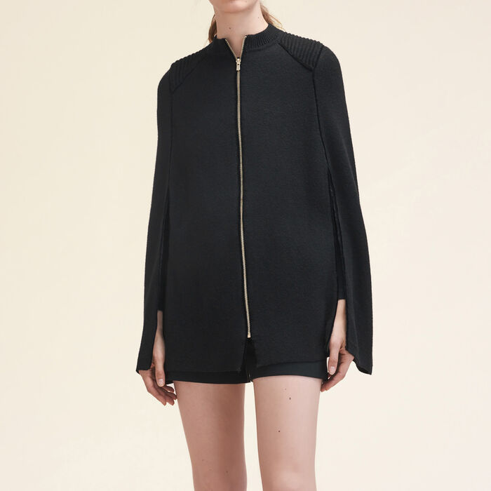 Knitted cape with contrasting details -  - MAJE