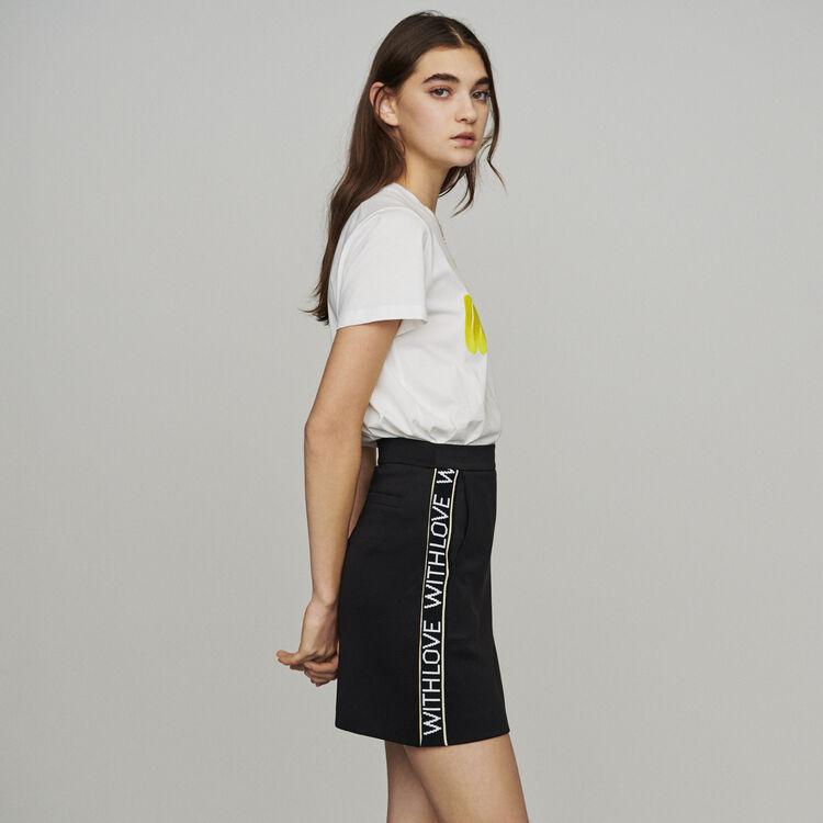 마쥬 JUST 슬로건 밴드 미니 스커트 - 블랙 (효연 착용) MAJE Short skirt with slogan band,Black 210