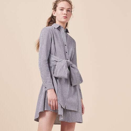 Gingham printed shirt dress - Dresses - MAJE
