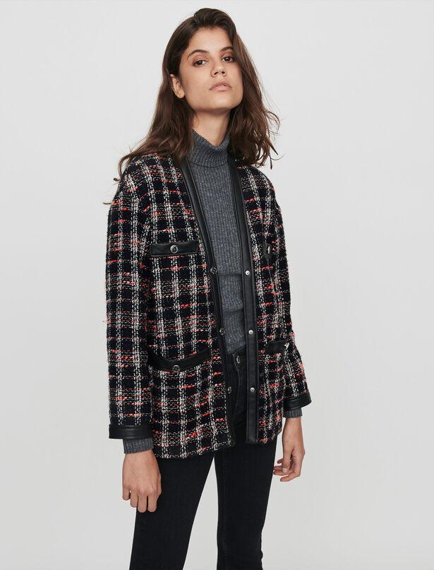 마쥬 트위드 자켓 MAJE 119VISIDO Tweed-syle contrast jacket,Black