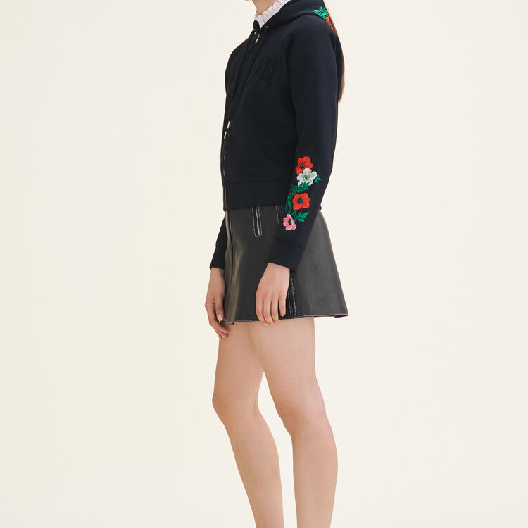 Embroidered hooded sweatshirt - Sweaters - MAJE