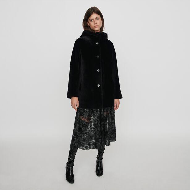 마쥬 리버서블 후드 코트 MAJE 119GATINA Reversible hooded lambswool,Black