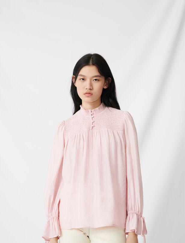 마쥬 블라우스 MAJE 220LUONI Smocked blouse with puff sleeves,Pink