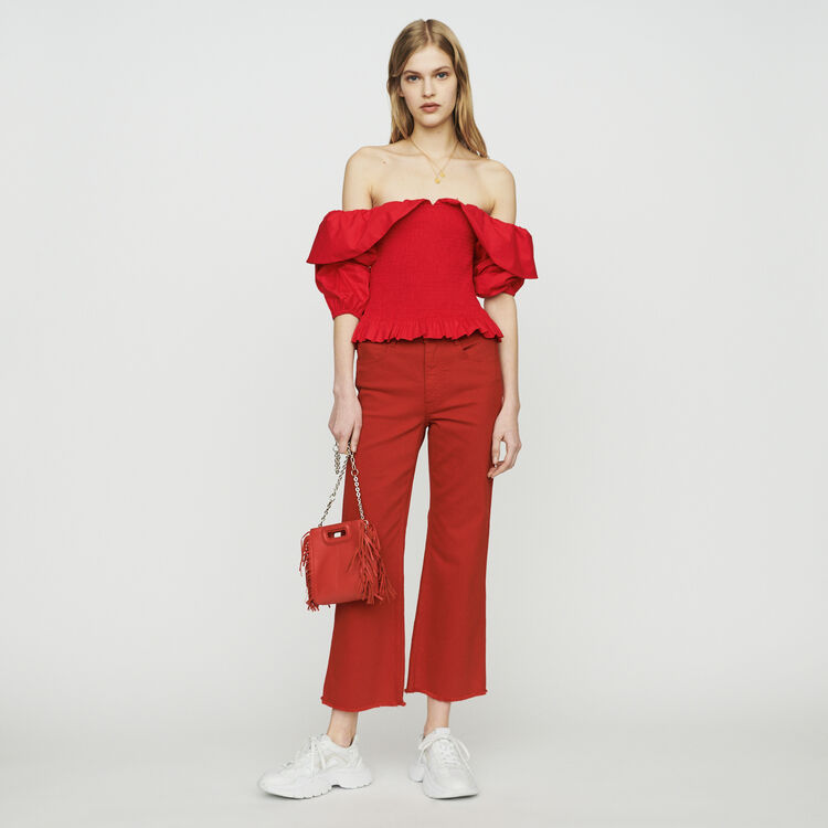 마쥬 MAJE LENDA Smocked cold-shoulder top,Red