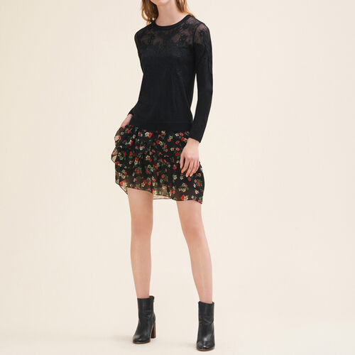 Fine jumper with lace and embroidery - Sweaters - MAJE