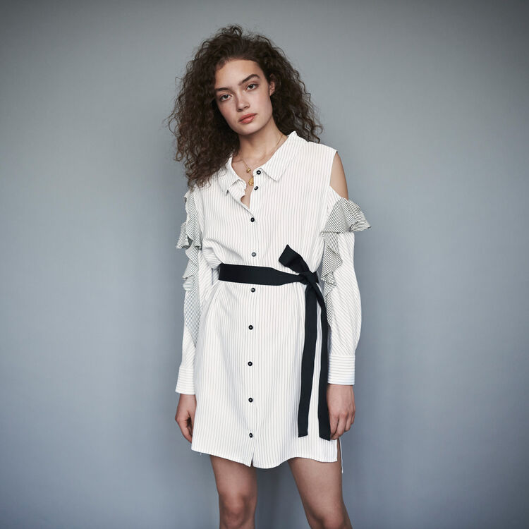 마쥬 원피스 MAJE 119RELIA Striped ruffled shirt dress,White / Black