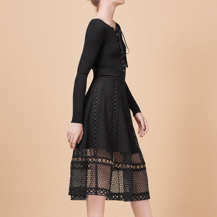 Long embroidered knit skirt - Skirts & Shorts - MAJE