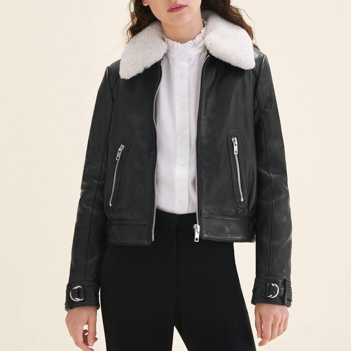 Sheepskin collar aviator jacket -  - MAJE